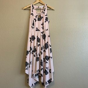 Candies Pink Black Rose Print Asymmetrical Dress